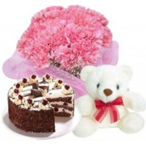 Bunch of 10 Pink Carnations, 6 Inches Teddy & half Kg Black Forest Cake