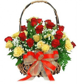 30 Red and Yellow Roses in Basket