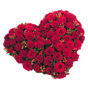 Heartshape Arrangement 75 Red Roses