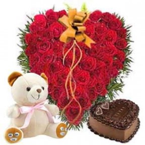 Heartshape Arrangement of 50 Roses, 1 kg. Heartshape Cake, 6 inches Teddy