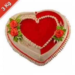 Heart Shaped Pineapple eggless Cake - 3 Kg