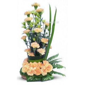 Arrangement of Yellowish Peach Carnations