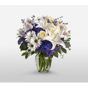 Vase With Mixed 5 White Roses 7 Carnations 3 Lillies and 5 Gerberas