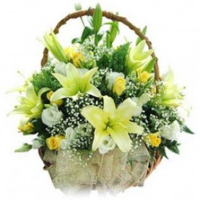 Basket of Mixed Flowers 3 White Lillies 20 White and Yellow Roses