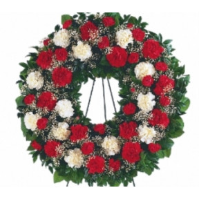 Funeral Wreath of White and Red Roses