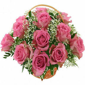 Basket Of 25 Pink Roses