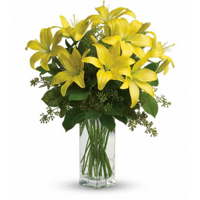 Vase with 10 Yellow Lilies