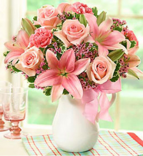 Vase With Pink Lilies And Pink Roses