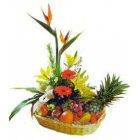 Basket Of Mixed Flowers n Fruits