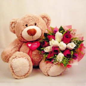 12 inch Teddy with Bunch of 12 Roses