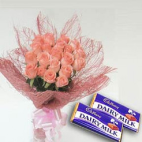 Bunch of 12 Pink Roses & 2 Bars of Cadbury