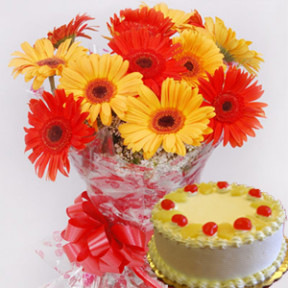 Bunch of 20 Yellow and Orange Gerberas with 1Kg Pineapple Cake.