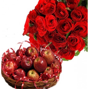 Bunch of 12 Red Roses with Basket of Fresh Apples.