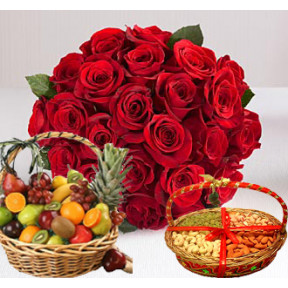 Bunch of 12 Red Roses and Basket of Mix Fresh Fruits also along with 1 kg Mix Dry Fruits.