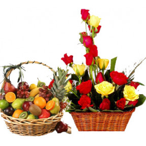 Basket of 20 Red and Yellow Roses with Basket Fresh Mix Fruits.