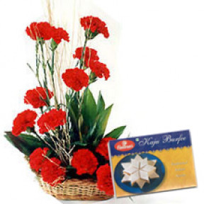 Basket of 12 Red Carnations with 1kg Kaju Katli.