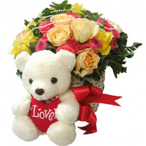 Bunch of 20 Mix Roses along with 12 inch Teddy Bear.