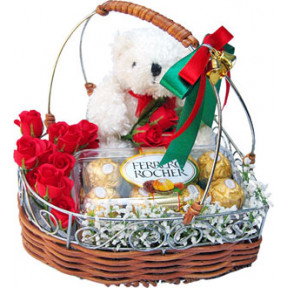 Basket of 12 Red Roses, 16 Pcs Ferrero Rochers Chocolate ,6 Inches Teddy .