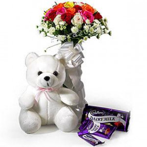 Bunch of 15 Mix Roses with 5 Cadbury Chocolate, 6Inch Teddy .