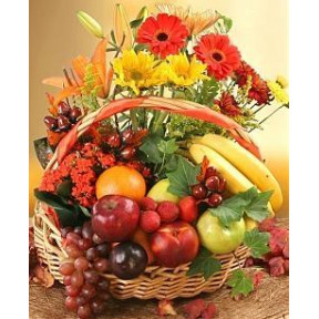 Basket of 12 Mix Flowers with Mix Fresh Fruits