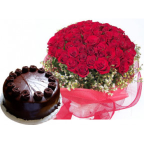 Bunch of 40 Red Roses & half Kg Chocolate Cake
