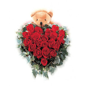 Heart Of 30 Red Roses & 6 Inches Teddy