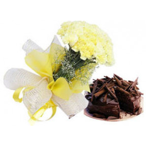 Bunch of Yellow Carnations & Chocolate Cake.