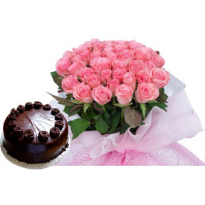 Bunch of 20 Pink Roses & half Kg Chocolate Cake.