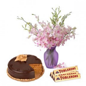 Vase with Purple Orchids , Chocolate cake & Toblerone.