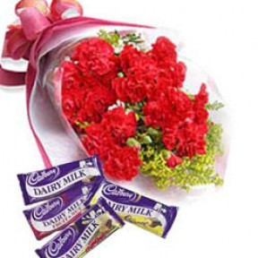 Bunch of 10 Red Carnations & 4 Bars of Cadbury