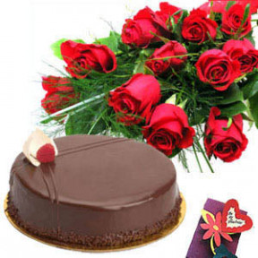 Bunch of 15 Roses & half Kg Chocolate Cake.