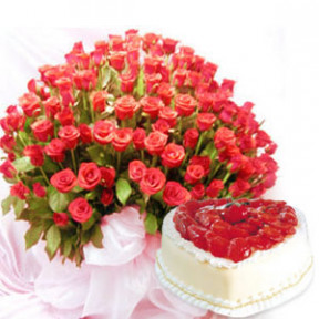 Basket with 200 Red Roses & 2 kg. Heart Shape Strawberry Cake