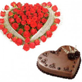 Heart Shape Arrangement of 40 red roses and 1 kg. heart shape Chocolate Cake