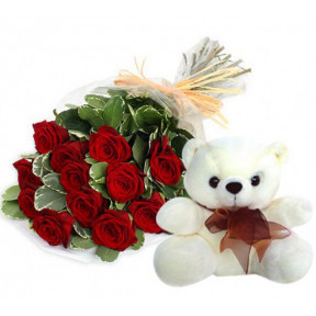 Bunch of 10 Red Rose & Teddy