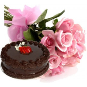 Bunch of 10 Pink roses and 500gm chocolate cake