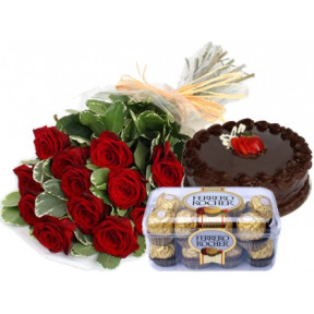 Bunch of 10 Red Roses , 1/2 Kg Chocolate Cake & 16 pcs Ferrero Rocher Box