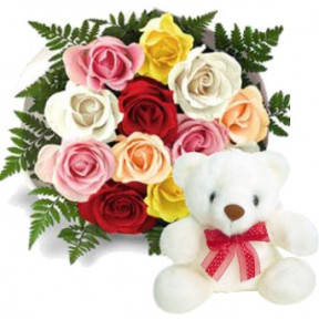 Bunch of 12 Mix Color Roses & 6 Inches Teddy
