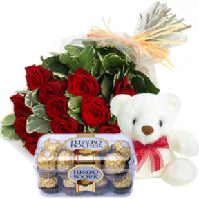 Bunch of 10 Red Roses,16 Pcs Ferrero Rocher Box & 6 Inches teddy