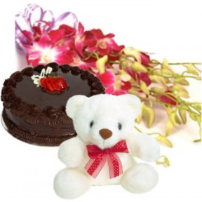 Orchids Bunch Teddy N Chocolate Cake