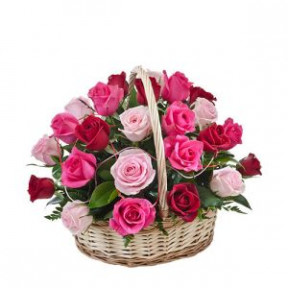 Red Pink Peach Roses Basket