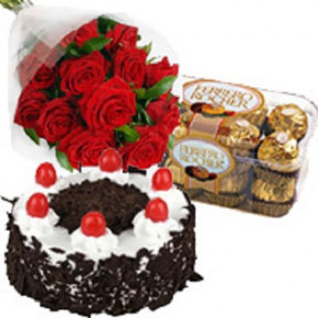 Red Roses N Cake with Ferrero Rocher