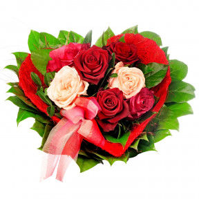 Heart Shape Red N White Roses Bouquet