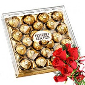 Ferrero Rocher with Red Rose Bunch