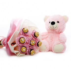 Pink Teddy With Chocolate