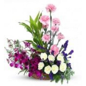 Mixed Flowers Arrangement Purple Orchid Pink Carnation and roses