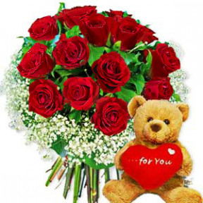 Bunch of 24 Red Roses and 6 inch Teddy