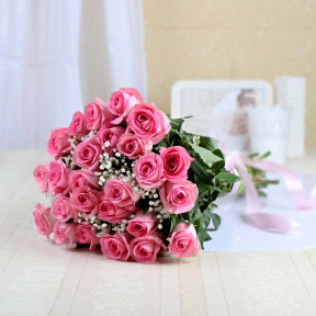 Bunch of 24 Pink Roses