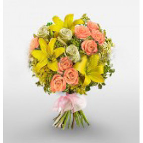 Bunch of 3 Yellow Lilies and 15 Pink and White Roses