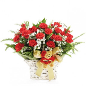 24 Red Roses Basket (Small)