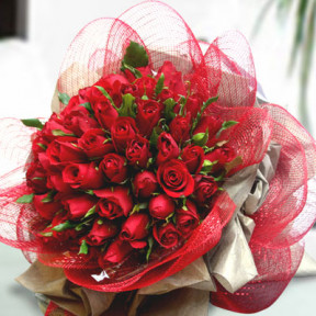50 Red Rose Hand Bouquet
